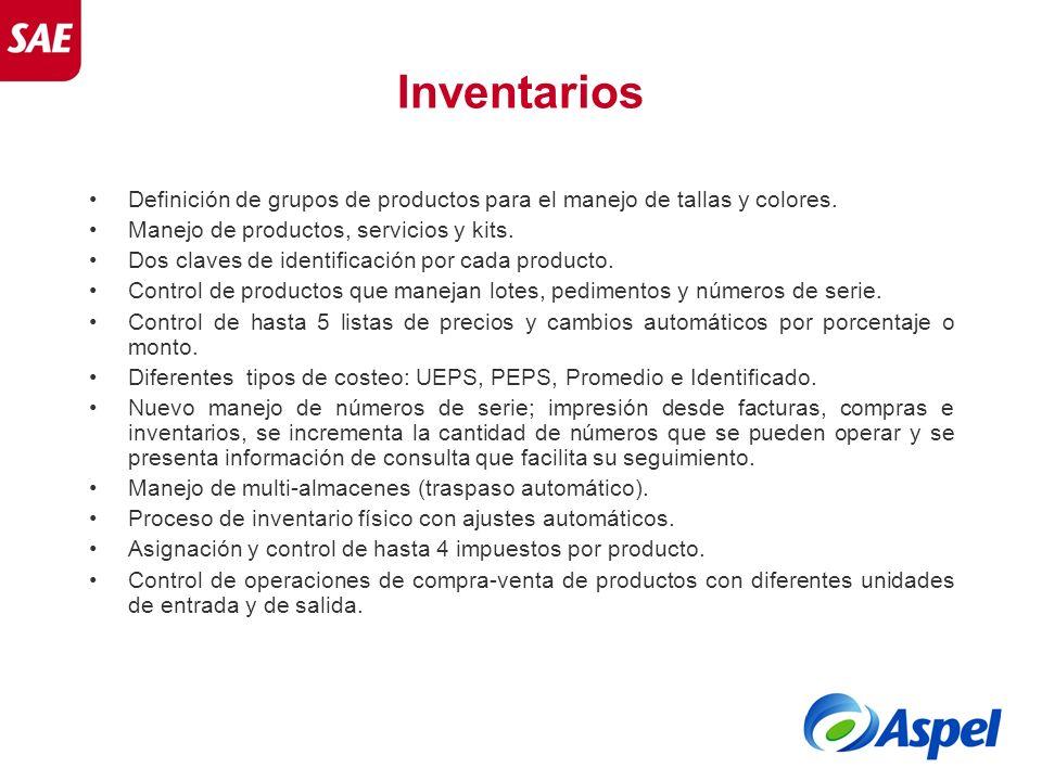 Definición de grupos de productos para el manejo de tallas y colores. Manejo de productos, servicios y kits. Dos claves de identificación por cada pro