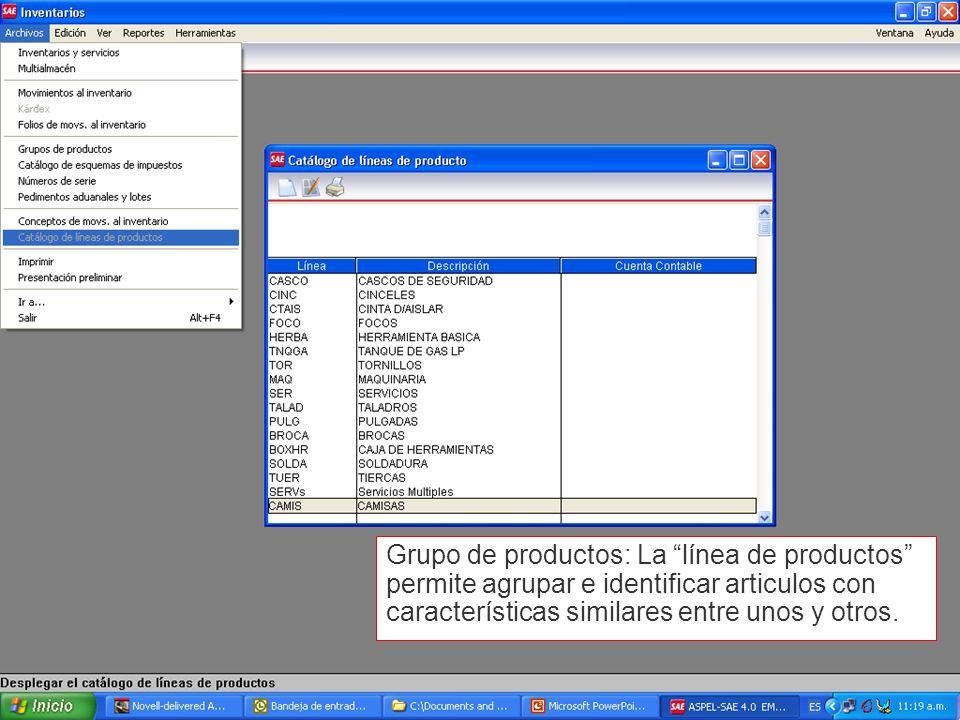 Grupo de productos: La línea de productos permite agrupar e identificar articulos con características similares entre unos y otros.