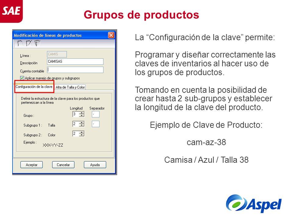 La Configuración de la clave permite: Programar y diseñar correctamente las claves de inventarios al hacer uso de los grupos de productos. Tomando en