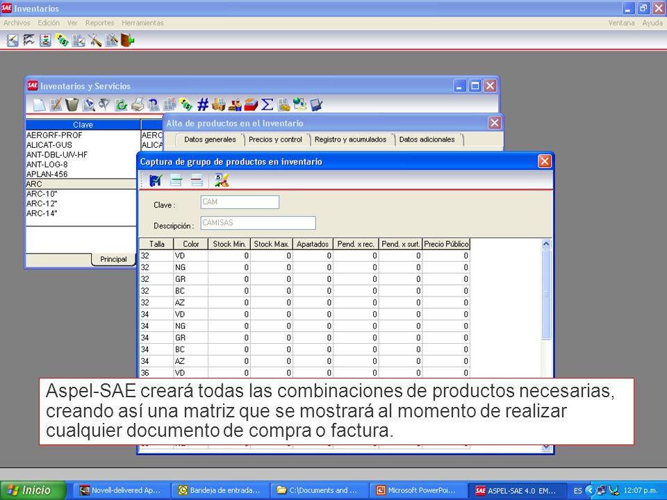 Aspel-SAE creará todas las combinaciones de productos necesarias, creando así una matriz que se mostrará al momento de realizar cualquier documento de