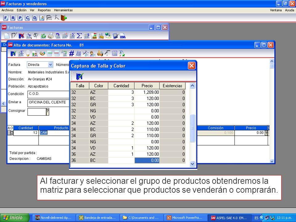 Al facturar y seleccionar el grupo de productos obtendremos la matriz para seleccionar que productos se venderán o comprarán.