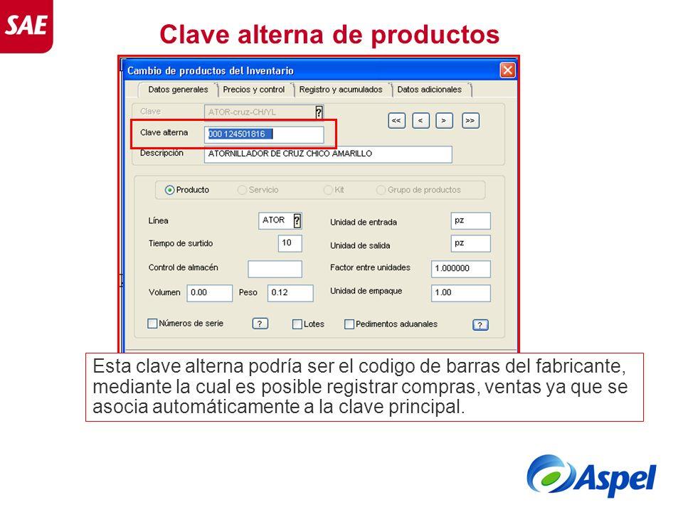 Clave alterna de productos Esta clave alterna podría ser el codigo de barras del fabricante, mediante la cual es posible registrar compras, ventas ya