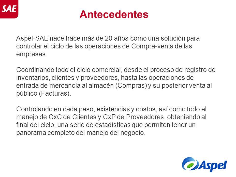 Aspel-SAE nace hace más de 20 años como una solución para controlar el ciclo de las operaciones de Compra-venta de las empresas. Coordinando todo el c