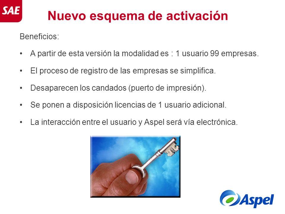 Nuevo esquema de activación Beneficios: A partir de esta versión la modalidad es : 1 usuario 99 empresas. El proceso de registro de las empresas se si