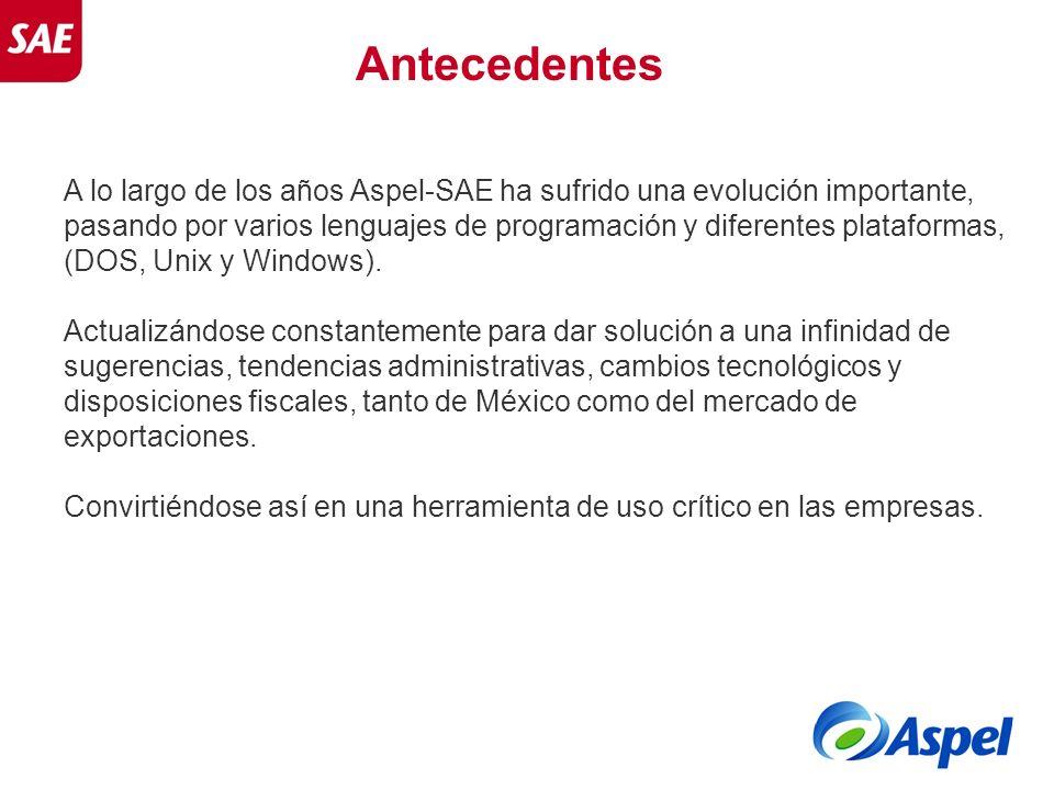 A lo largo de los años Aspel-SAE ha sufrido una evolución importante, pasando por varios lenguajes de programación y diferentes plataformas, (DOS, Uni