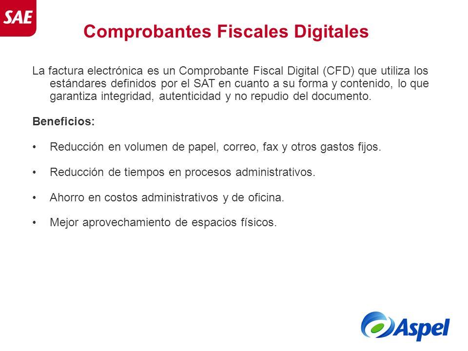 Comprobantes Fiscales Digitales La factura electrónica es un Comprobante Fiscal Digital (CFD) que utiliza los estándares definidos por el SAT en cuant