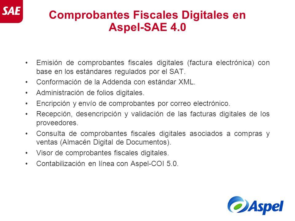 Comprobantes Fiscales Digitales en Aspel-SAE 4.0 Emisión de comprobantes fiscales digitales (factura electrónica) con base en los estándares regulados
