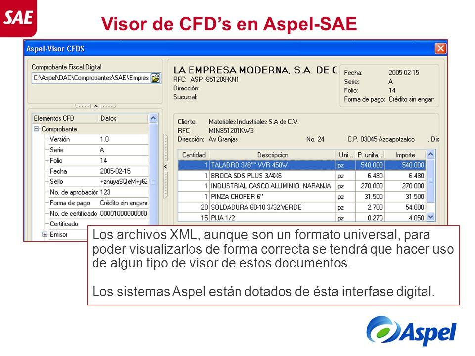 Visor de CFDs en Aspel-SAE Los archivos XML, aunque son un formato universal, para poder visualizarlos de forma correcta se tendrá que hacer uso de al