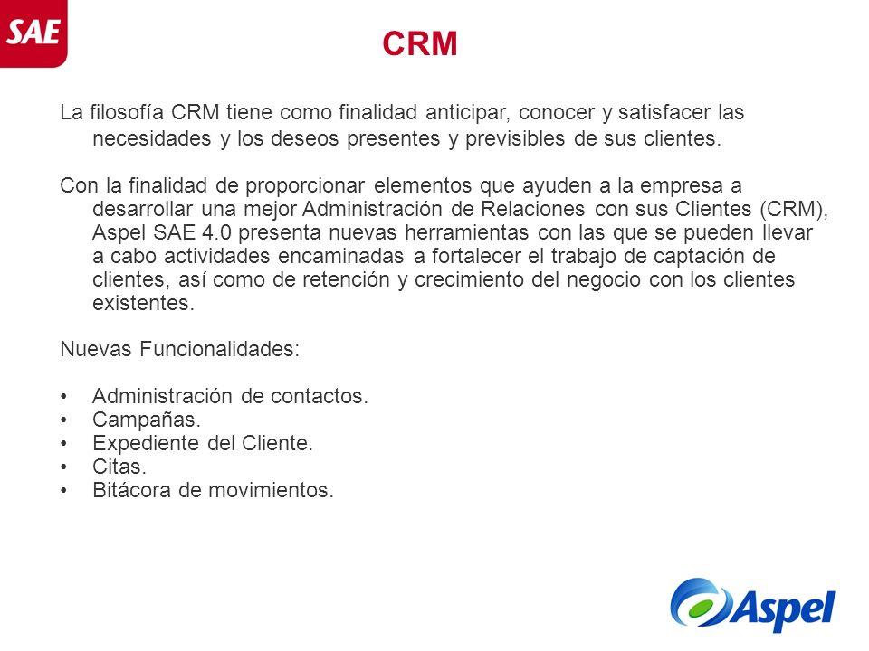 CRM La filosofía CRM tiene como finalidad anticipar, conocer y satisfacer las necesidades y los deseos presentes y previsibles de sus clientes. Con la