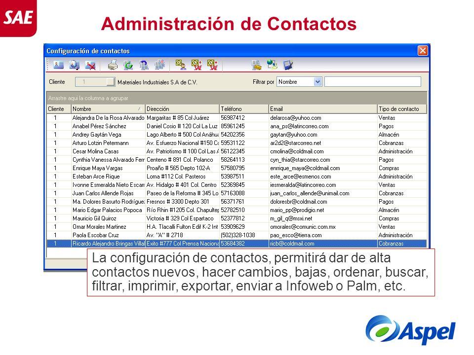 Administración de Contactos La configuración de contactos, permitirá dar de alta contactos nuevos, hacer cambios, bajas, ordenar, buscar, filtrar, imp