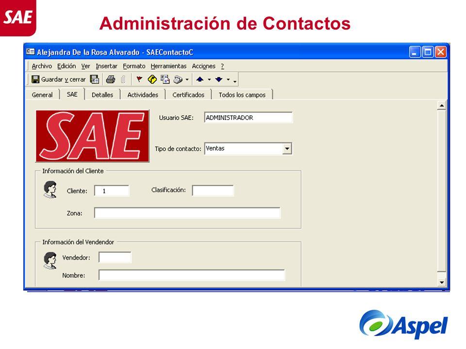 Administración de Contactos Se creará una pestaña SAE, para indicar el tipo de contacto.