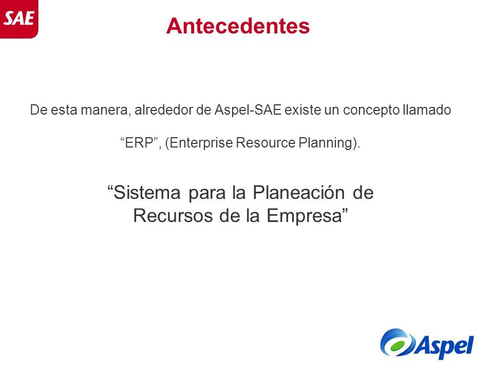Antecedentes De esta manera, alrededor de Aspel-SAE existe un concepto llamado ERP, (Enterprise Resource Planning). Sistema para la Planeación de Recu