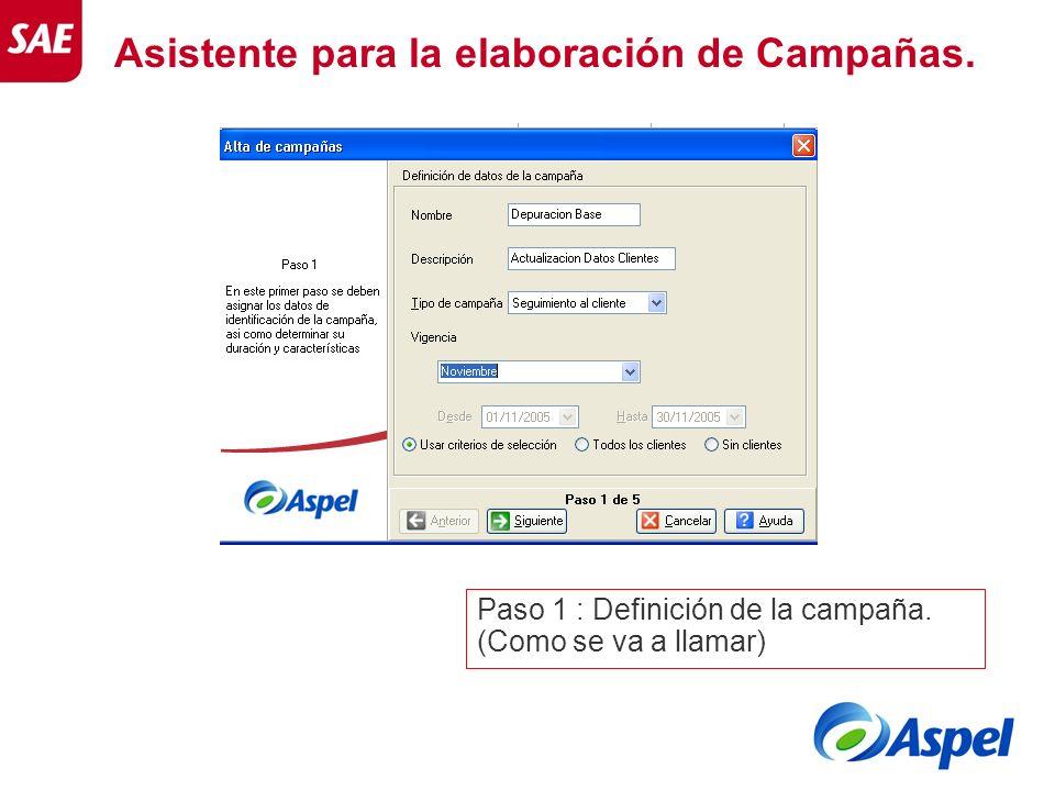 Asistente para la elaboración de Campañas. Paso 1 : Definición de la campaña. (Como se va a llamar)
