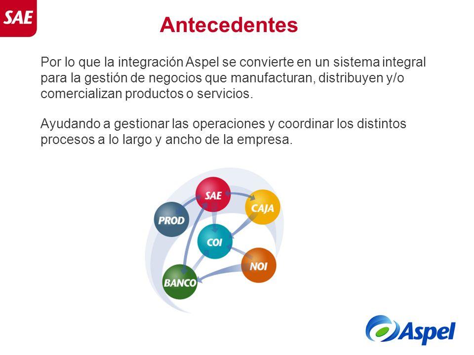 Antecedentes Por lo que la integración Aspel se convierte en un sistema integral para la gestión de negocios que manufacturan, distribuyen y/o comerci