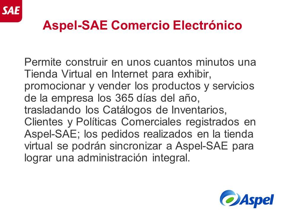 Aspel-SAE Comercio Electrónico Permite construir en unos cuantos minutos una Tienda Virtual en Internet para exhibir, promocionar y vender los product