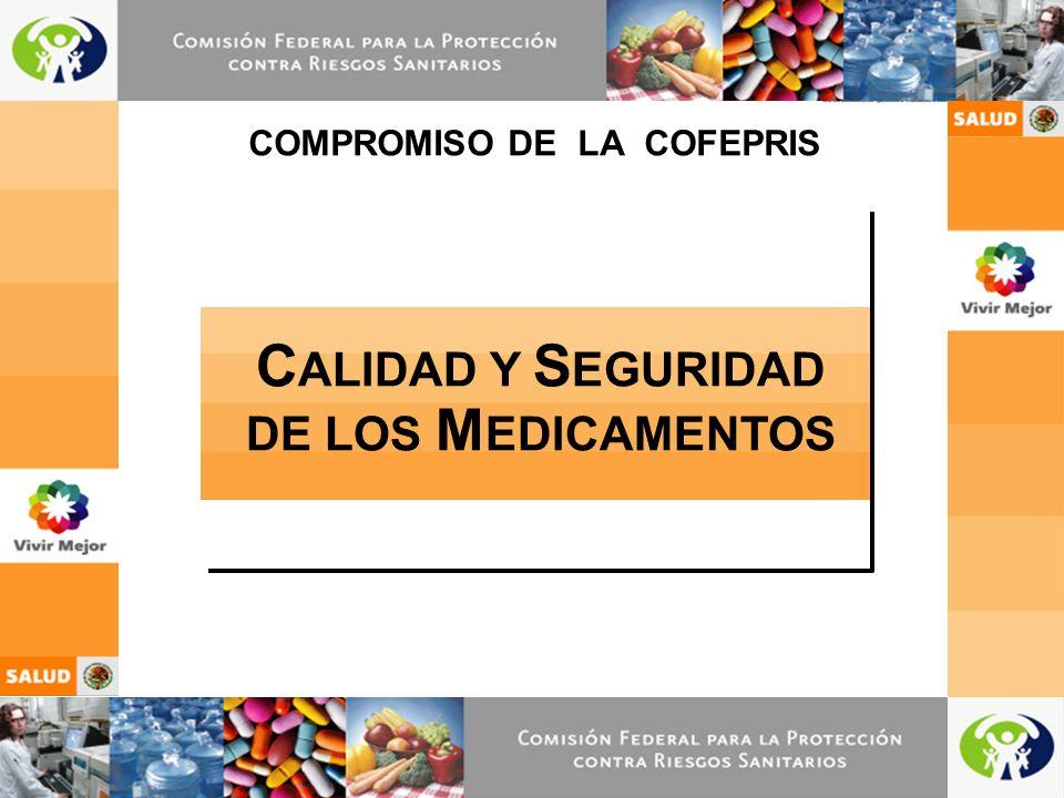 1 C ALIDAD Y S EGURIDAD DE LOS M EDICAMENTOS COMPROMISO DE LA COFEPRIS
