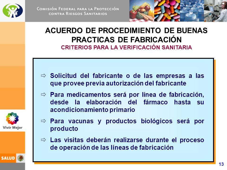 13 ACUERDO DE PROCEDIMIENTO DE BUENAS PRACTICAS DE FABRICACIÓN CRITERIOS PARA LA VERIFICACIÓN SANITARIA Solicitud del fabricante o de las empresas a l