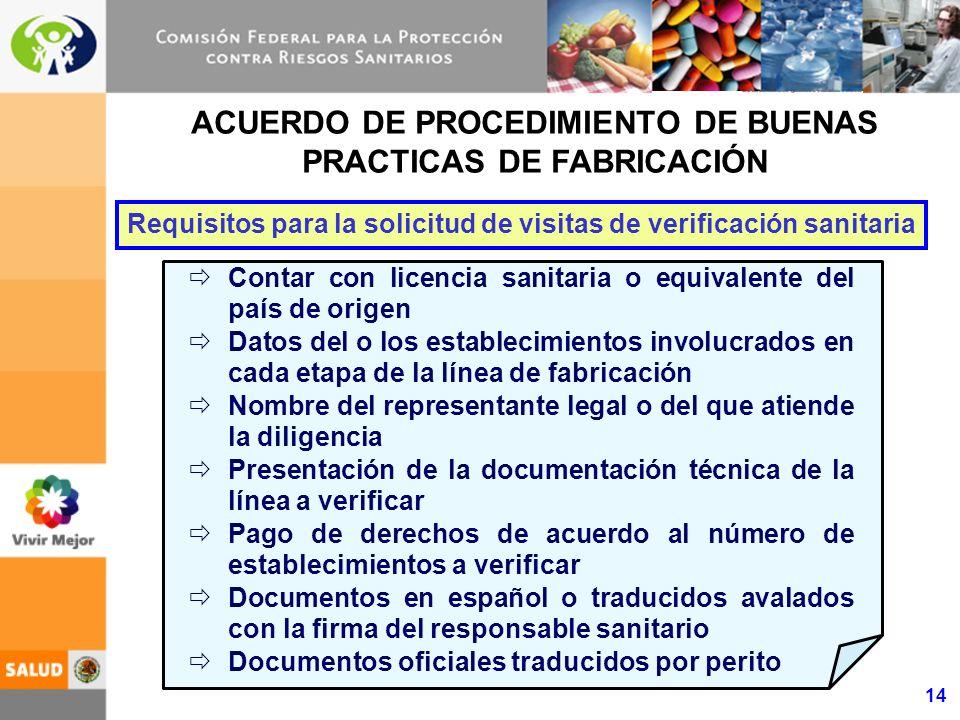 14 ACUERDO DE PROCEDIMIENTO DE BUENAS PRACTICAS DE FABRICACIÓN Contar con licencia sanitaria o equivalente del país de origen Datos del o los establec