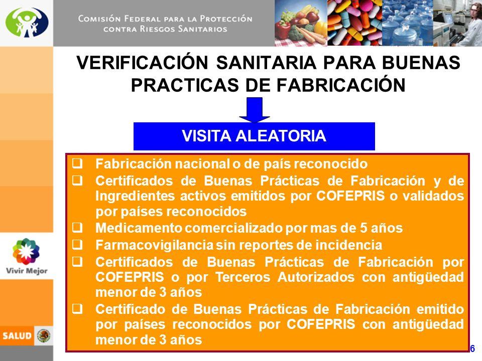 16 VERIFICACIÓN SANITARIA PARA BUENAS PRACTICAS DE FABRICACIÓN Fabricación nacional o de país reconocido Certificados de Buenas Prácticas de Fabricación y de Ingredientes activos emitidos por COFEPRIS o validados por países reconocidos Medicamento comercializado por mas de 5 años Farmacovigilancia sin reportes de incidencia Certificados de Buenas Prácticas de Fabricación por COFEPRIS o por Terceros Autorizados con antigüedad menor de 3 años Certificado de Buenas Prácticas de Fabricación emitido por países reconocidos por COFEPRIS con antigüedad menor de 3 años VISITA ALEATORIA