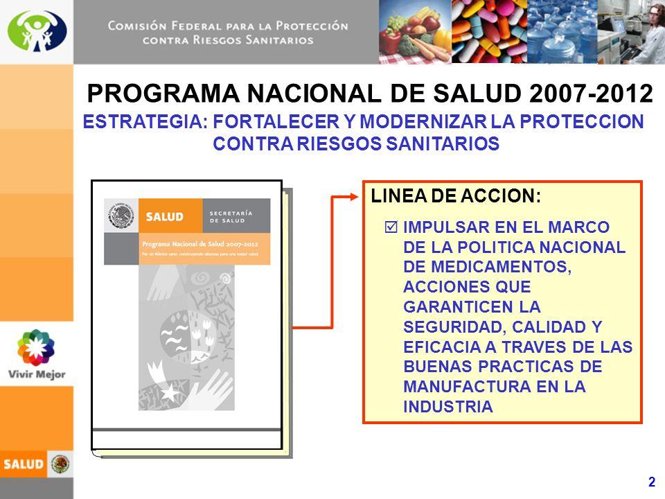 2 PROGRAMA NACIONAL DE SALUD 2007-2012 ESTRATEGIA:FORTALECER Y MODERNIZAR LA PROTECCION CONTRA RIESGOS SANITARIOS LINEA DE ACCION: IMPULSAR EN EL MARC
