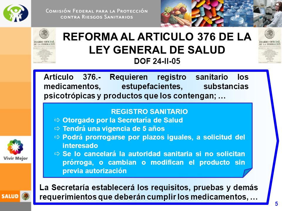 5 REFORMA AL ARTICULO 376 DE LA LEY GENERAL DE SALUD DOF 24-II-05 Artículo 376.- Requieren registro sanitario los medicamentos, estupefacientes, substancias psicotrópicas y productos que los contengan; … REGISTRO SANITARIO Otorgado por la Secretaría de Salud Tendrá una vigencia de 5 años Podrá prorrogarse por plazos iguales, a solicitud del interesado Se lo cancelará la autoridad sanitaria si no solicitan prórroga, o cambian o modifican el producto sin previa autorización La Secretaría establecerá los requisitos, pruebas y demás requerimientos que deberán cumplir los medicamentos, …