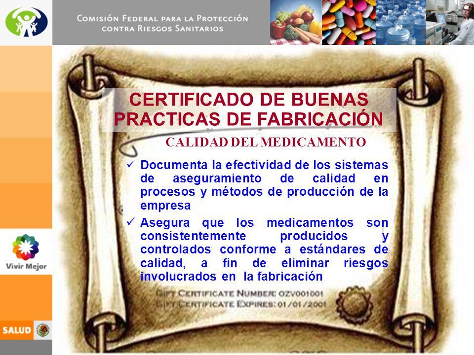 9 CERTIFICADO DE BUENAS PRACTICAS DE FABRICACIÓN Documenta la efectividad de los sistemas de aseguramiento de calidad en procesos y métodos de producción de la empresa Asegura que los medicamentos son consistentemente producidos y controlados conforme a estándares de calidad, a fin de eliminar riesgos involucrados en la fabricación CALIDAD DEL MEDICAMENTO