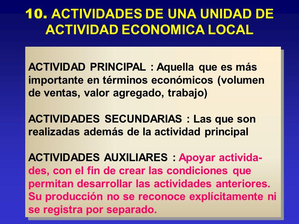 10. ACTIVIDADES DE UNA UNIDAD DE ACTIVIDAD ECONOMICA LOCAL ACTIVIDAD PRINCIPAL : Aquella que es más importante en términos económicos (volumen de vent