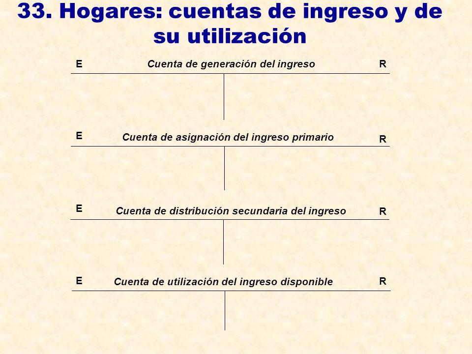 33. Hogares: cuentas de ingreso y de su utilización ER E E Cuenta de generación del ingreso Cuenta de asignación del ingreso primario Cuenta de distri