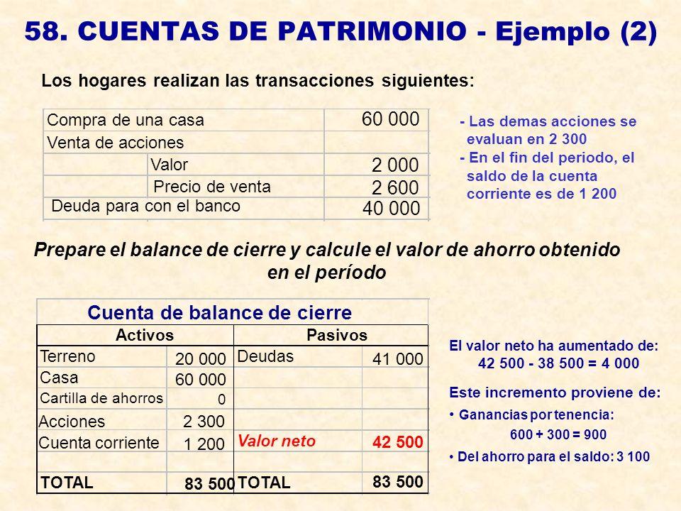 58. CUENTAS DE PATRIMONIO - Ejemplo (2) Los hogares realizan las transacciones siguientes: Prepare el balance de cierre y calcule el valor de ahorro o