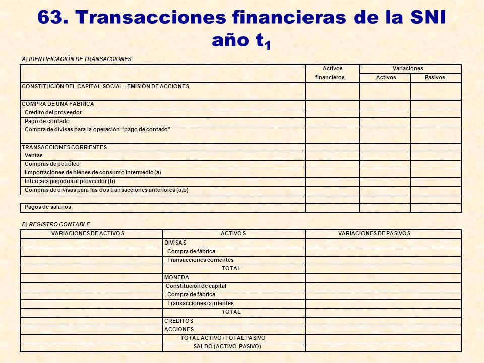 63. Transacciones financieras de la SNI año t 1