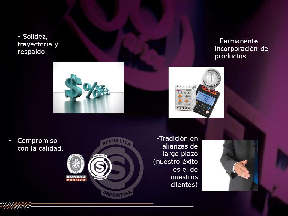 - Solidez, trayectoria y respaldo. - Permanente incorporación de productos. -Compromiso con la calidad. -Tradición en alianzas de largo plazo (nuestro