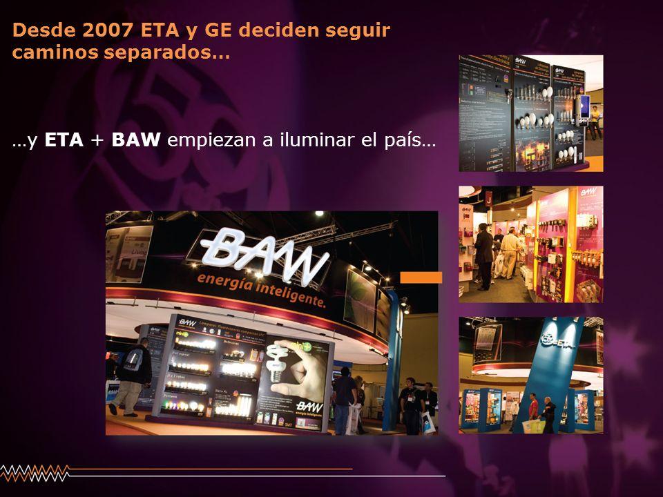 Desde 2007 ETA y GE deciden seguir caminos separados… …y ETA + BAW empiezan a iluminar el país…