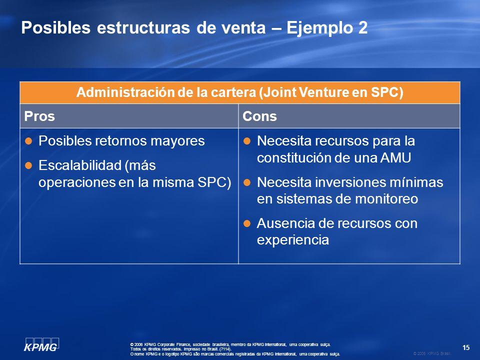 15 © 2006 KPMG Brasil. © 2006 KPMG Corporate Finance, sociedade brasileira, membro da KPMG International, uma cooperativa suíça. Todos os direitos res