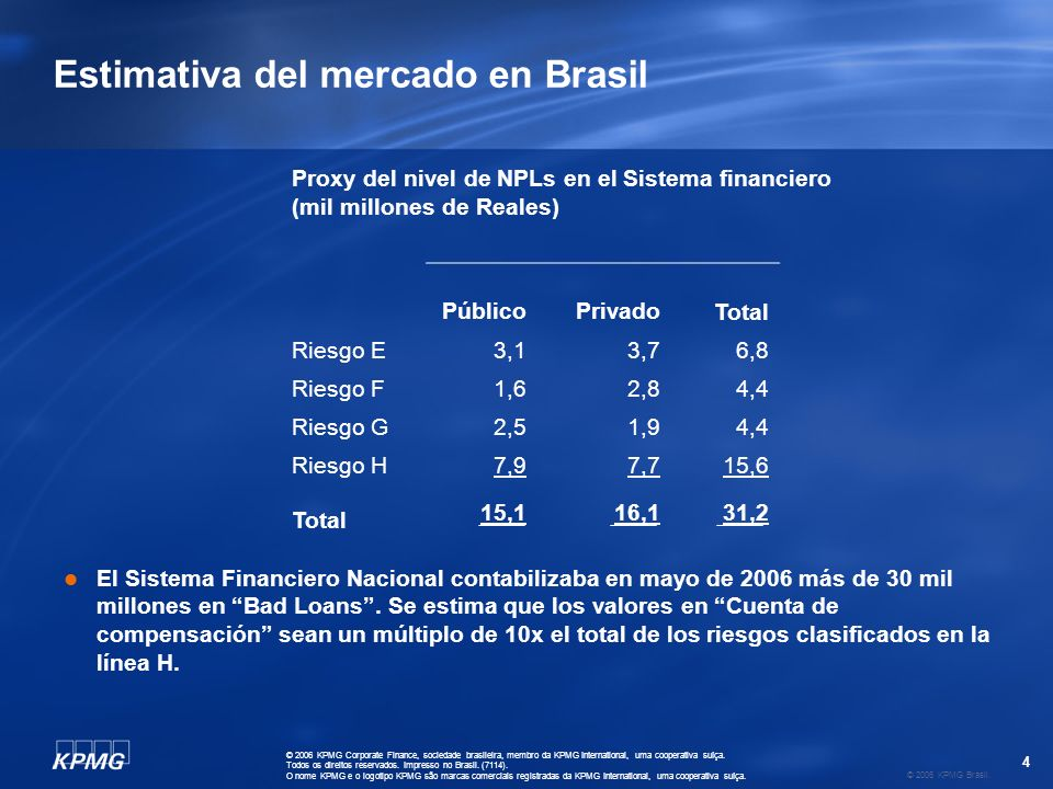 4 © 2006 KPMG Brasil. © 2006 KPMG Corporate Finance, sociedade brasileira, membro da KPMG International, uma cooperativa suíça. Todos os direitos rese