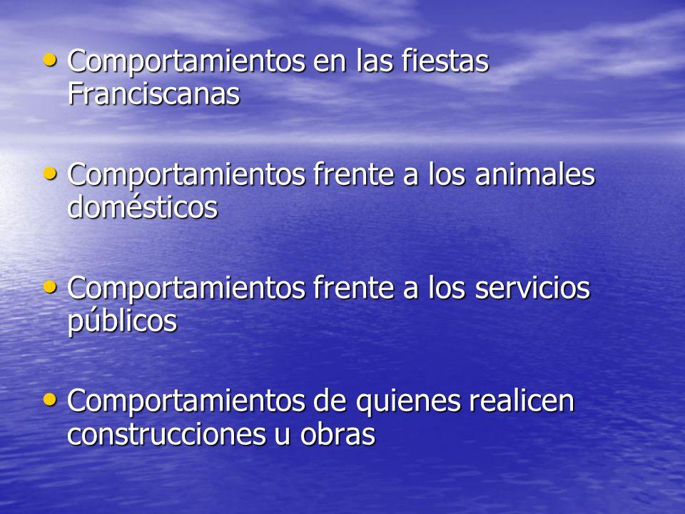 Comportamientos en las fiestas Franciscanas Comportamientos en las fiestas Franciscanas Comportamientos frente a los animales domésticos Comportamient