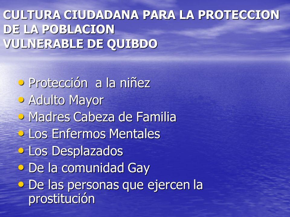CULTURA CIUDADANA PARA LA PROTECCION DE LA POBLACION VULNERABLE DE QUIBDO Protección a la niñez Protección a la niñez Adulto Mayor Adulto Mayor Madres Cabeza de Familia Madres Cabeza de Familia Los Enfermos Mentales Los Enfermos Mentales Los Desplazados Los Desplazados De la comunidad Gay De la comunidad Gay De las personas que ejercen la prostitución De las personas que ejercen la prostitución