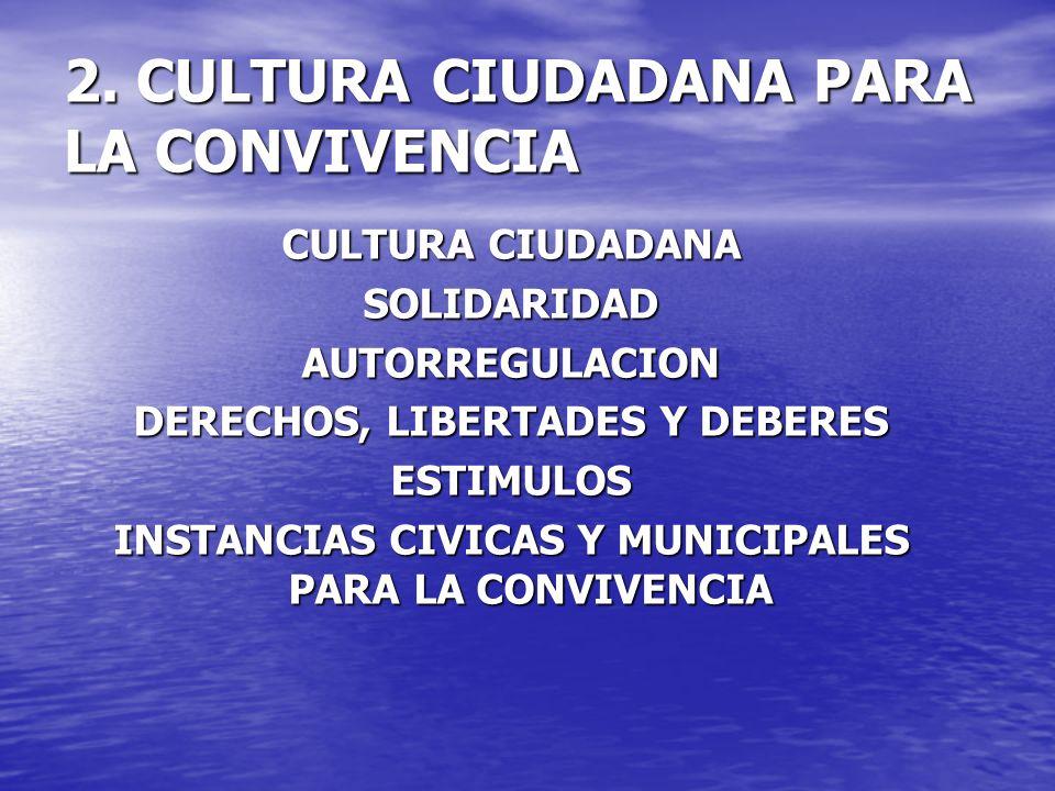 2. CULTURA CIUDADANA PARA LA CONVIVENCIA CULTURA CIUDADANA SOLIDARIDADAUTORREGULACION DERECHOS, LIBERTADES Y DEBERES ESTIMULOS INSTANCIAS CIVICAS Y MU