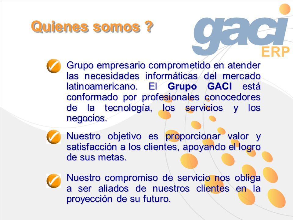 Grupo empresario comprometido en atender las necesidades informáticas del mercado latinoamericano. El Grupo GACI está conformado por profesionales con