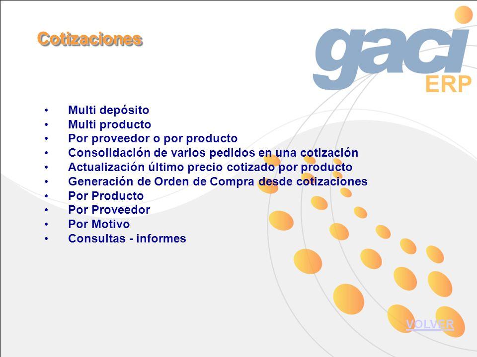 Multi depósito Multi producto Por proveedor o por producto Consolidación de varios pedidos en una cotización Actualización último precio cotizado por