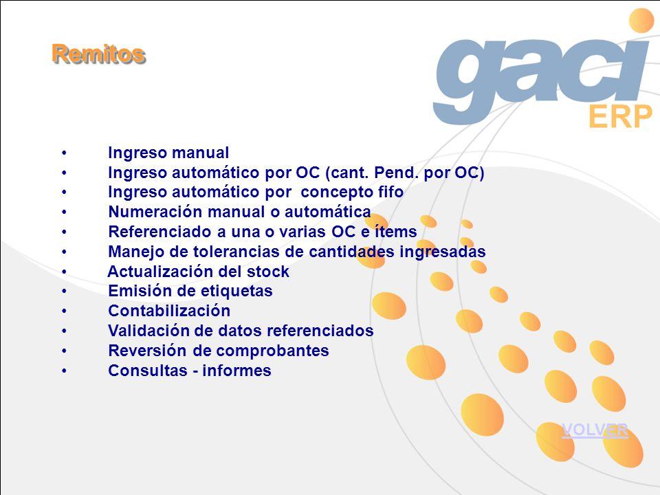 Ingreso manual Ingreso automático por OC (cant. Pend.