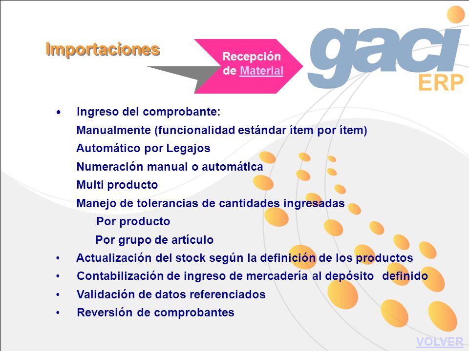 Ingreso del comprobante: Manualmente (funcionalidad estándar ítem por ítem) Automático por Legajos Numeración manual o automática Multi producto Manej