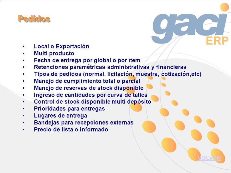 Local o Exportación Multi producto Fecha de entrega por global o por ítem Retenciones paramétricas administrativas y financieras Tipos de pedidos (nor