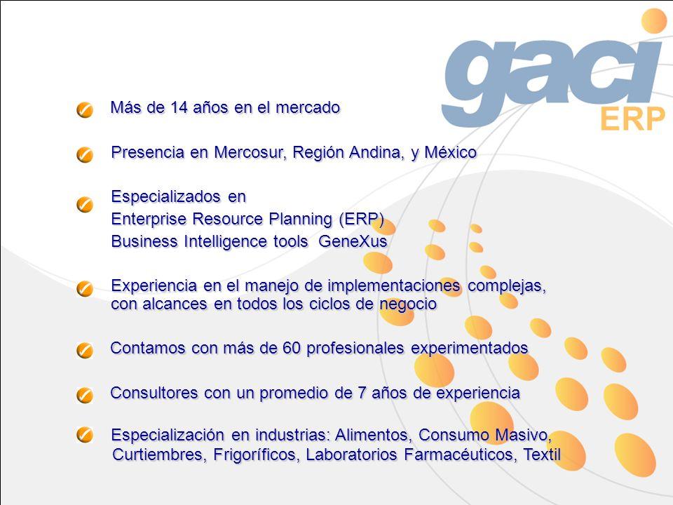 Más de 14 años en el mercado Presencia en Mercosur, Región Andina, y México Especializados en Enterprise Resource Planning (ERP) Business Intelligence