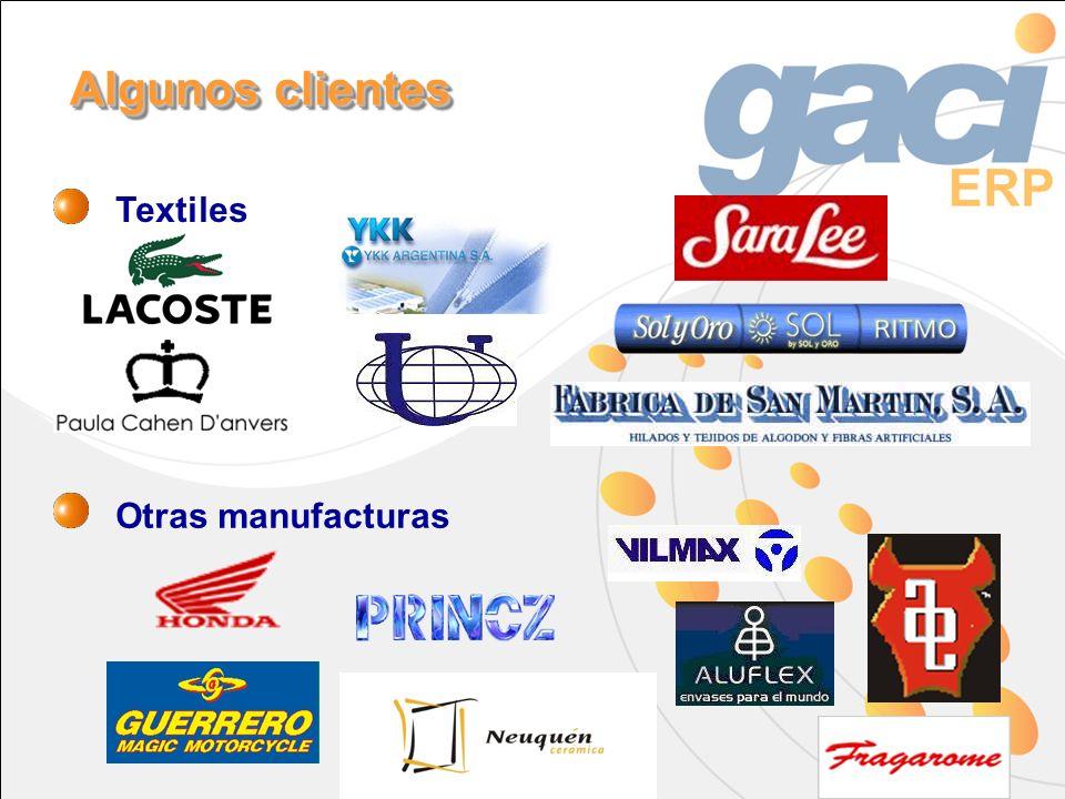 Textiles Otras manufacturas Algunos clientes