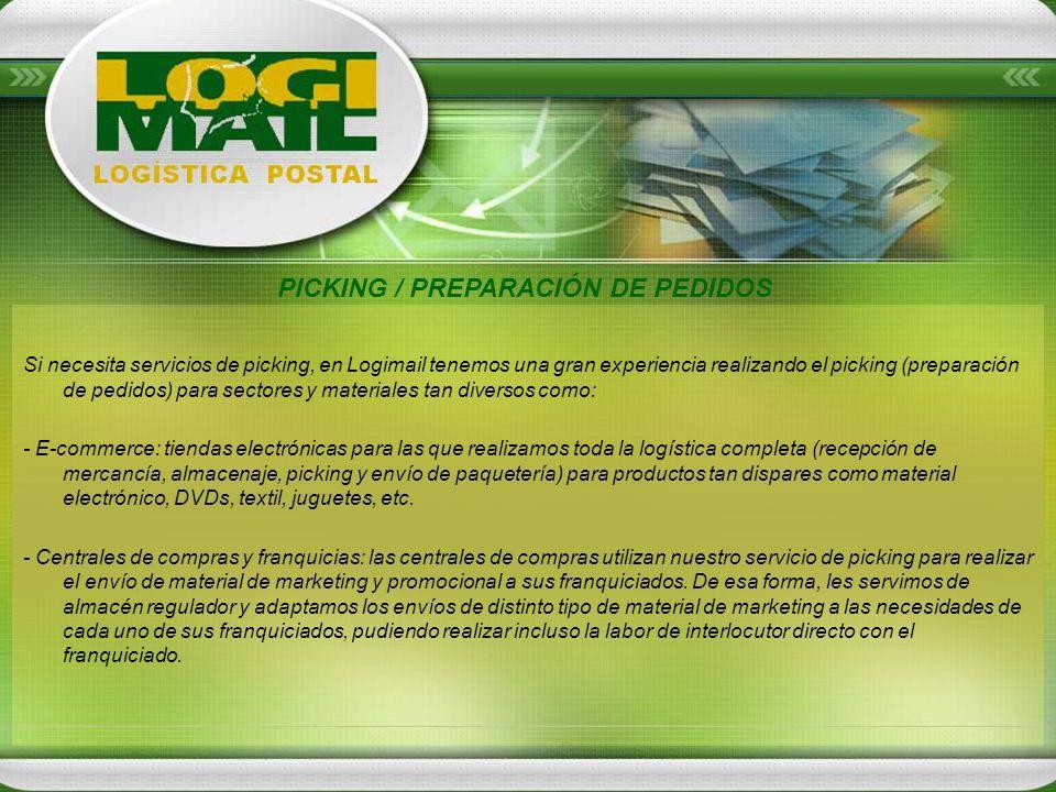 Si necesita servicios de picking, en Logimail tenemos una gran experiencia realizando el picking (preparación de pedidos) para sectores y materiales t
