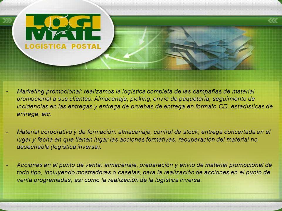 -Marketing promocional: realizamos la logística completa de las campañas de material promocional a sus clientes. Almacenaje, picking, envío de paquete