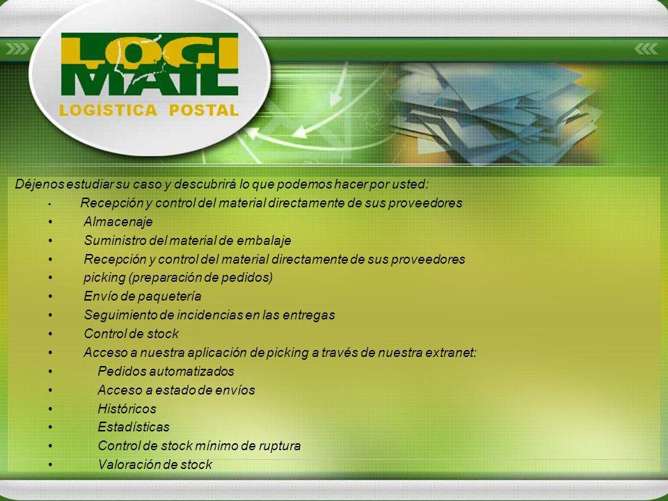 Déjenos estudiar su caso y descubrirá lo que podemos hacer por usted: Recepción y control del material directamente de sus proveedores Almacenaje Sumi
