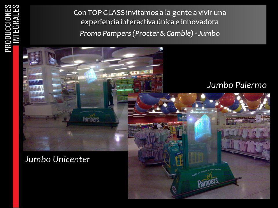 Con TOP GLASS invitamos a la gente a vivir una experiencia interactiva única e innovadora Promo Pampers (Procter & Gamble) - Jumbo Jumbo Unicenter Jum