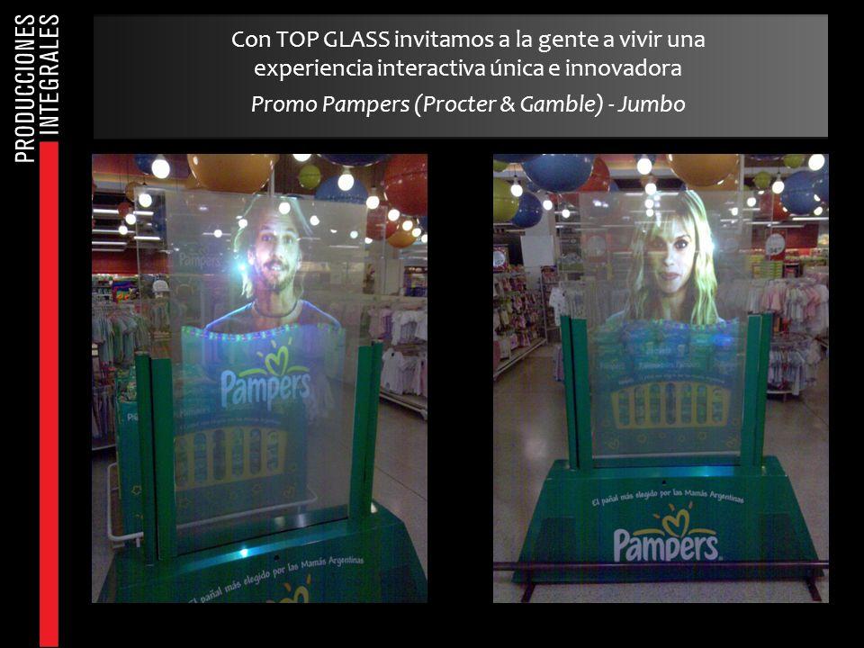 Con TOP GLASS invitamos a la gente a vivir una experiencia interactiva única e innovadora Promo Pampers (Procter & Gamble) - Jumbo