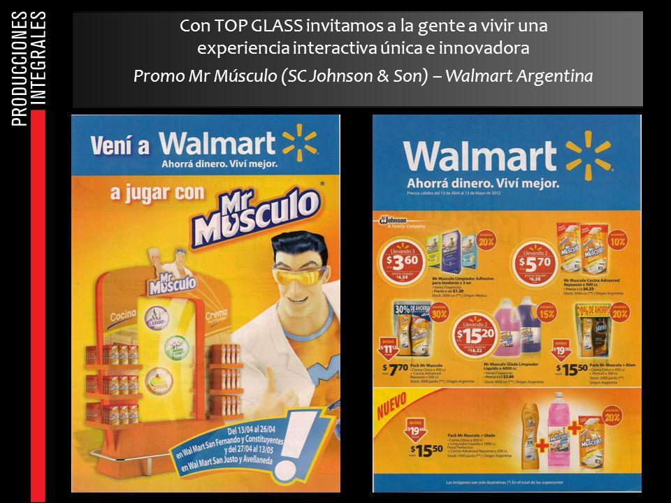 Con TOP GLASS invitamos a la gente a vivir una experiencia interactiva única e innovadora Promo Mr Músculo (SC Johnson & Son) – Walmart Argentina